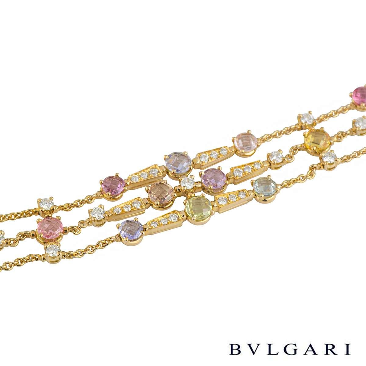 Bvlgari Yellow Gold Multi-Gemstone Rosette Necklace